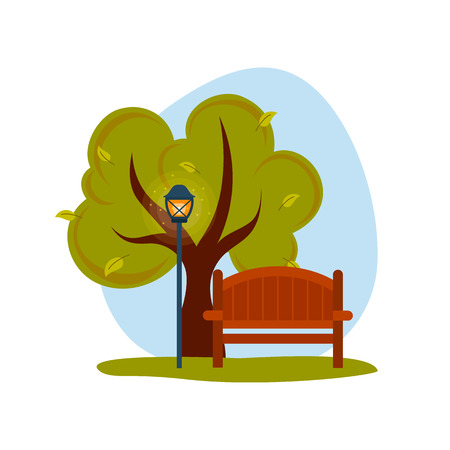 decoraton: Spring or summer landscape. Wooden bench with tree and streetlight.