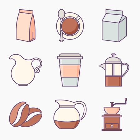 Raccolta di icone del caffè Vettoriali