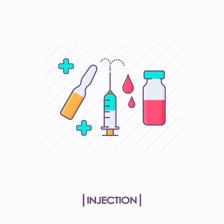 Collection of injection tools: syringe and ampule Illustration