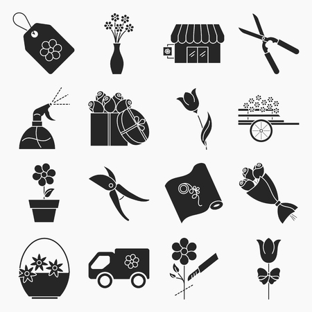 Collection of flower shop icons