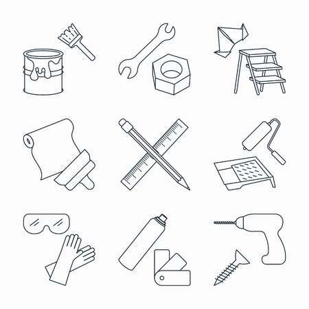 Collection of outline repair and building tools icons Иллюстрация