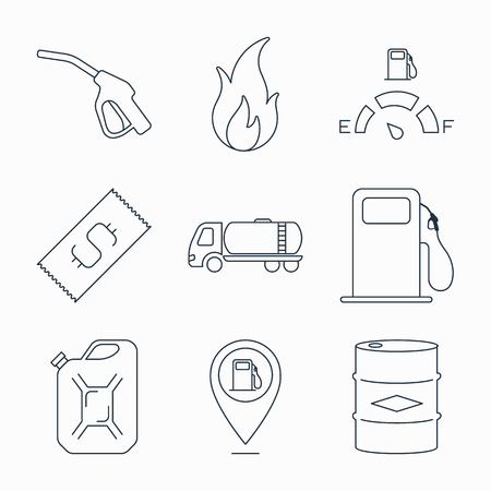 Collection of outline fuel station icons