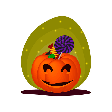 Cute Halloween smiling pumpkin with sweets