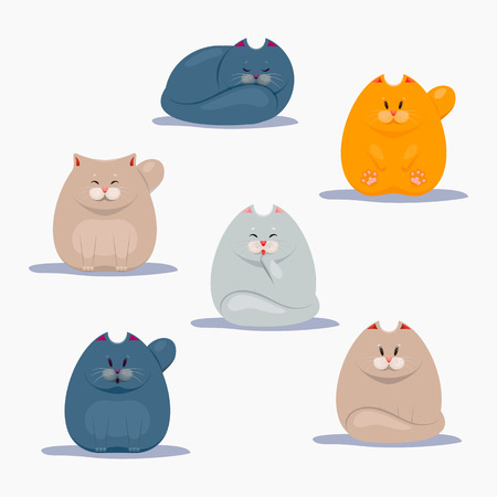 Collection of cute cats Vector illustration.