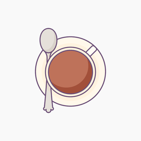 Cup of coffee or tea on sauser with spoon - top view.