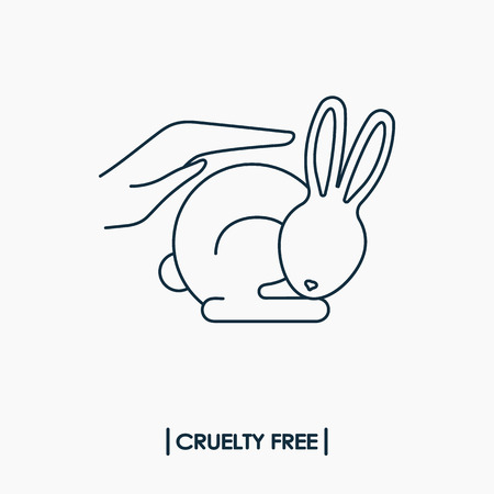 Animal cruelty free logo. Not tested on animals symbol. Rabbit in hands Иллюстрация