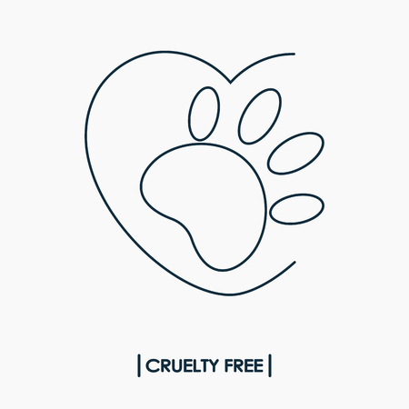 Animal cruelty free logo. Not tested on animals symbol. Rabbit footprint in heart