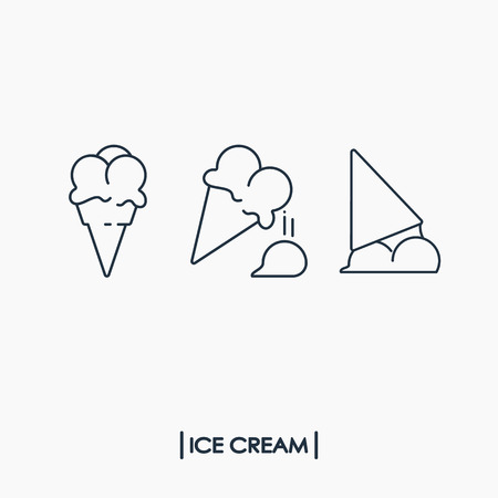 Collection of outline ice cream icons
