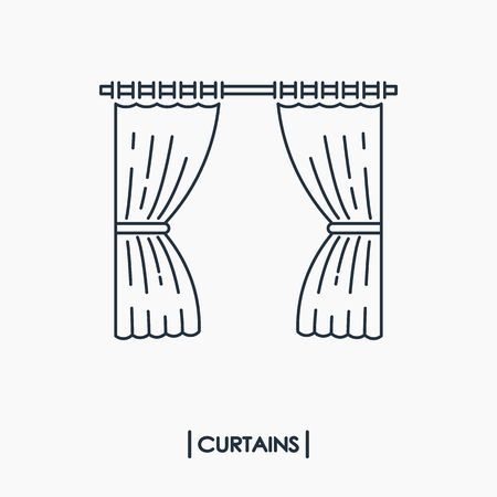 Curtains outline icon isolated