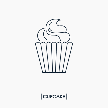 Cupcake outline icon Vector illustration.