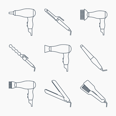 Hair styling accessories icon set