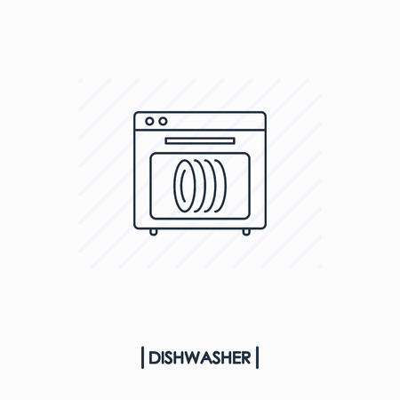Dishwasher outline icon isolated Иллюстрация