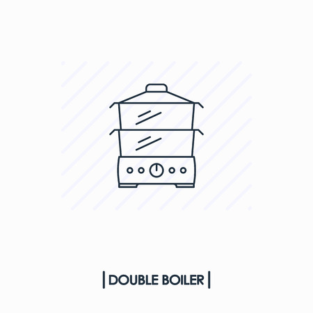 Double boiler outline icon isolated Иллюстрация