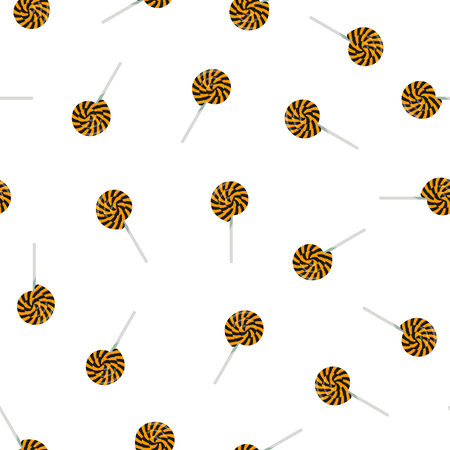 Black and orange lollipops - Halloween seamless pattern