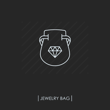 Jewelry bag outline icon isolated Vector illustration.