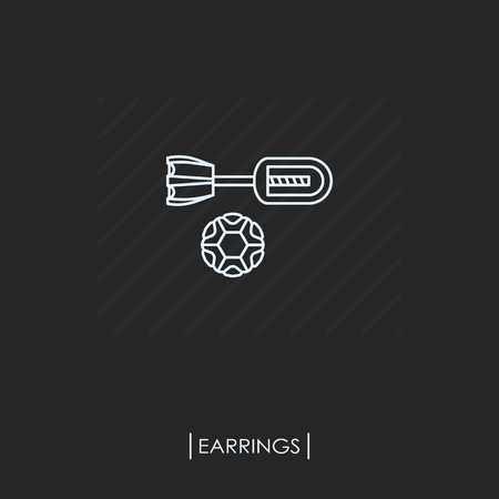 Earring outline icon isolated Vector illustration.