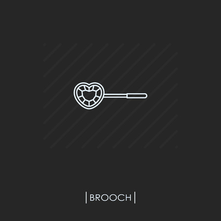 Brooch outline icon isolated Vector illustration.