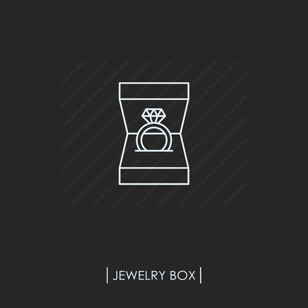 Ring with diamond in box outline icon isolated