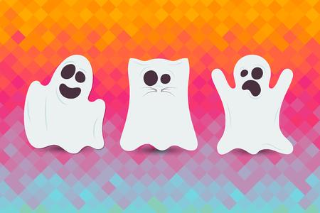 Set of cute Halloween ghost. Happy Halloween card  Иллюстрация