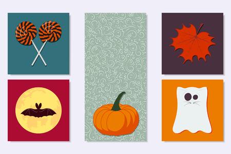 Set of Halloween elements Vector illustration.