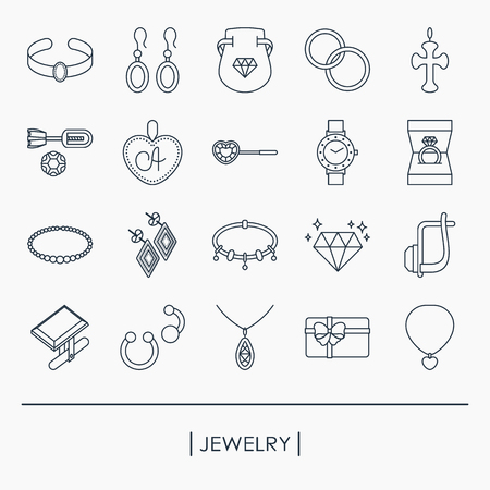 Collection of jewelry outline icons Иллюстрация
