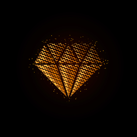 Gold geometric textured diamond Vector illustration.