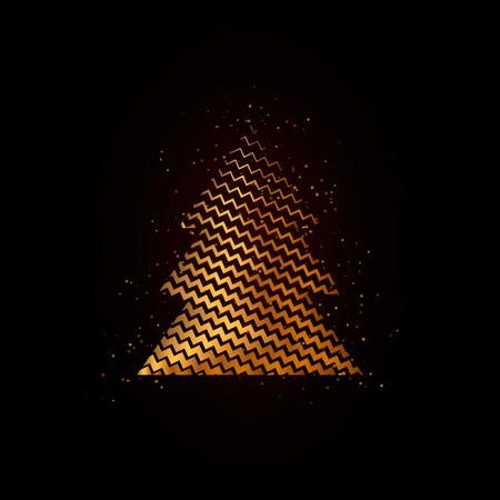 Gold geometric Christmas tree on black background with magic splash. Xmas poster.  Иллюстрация
