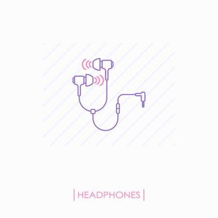 Headphones outline icon isolated