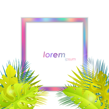 Summer tropical design. Jungle leaves with holo frame. Ilustracja