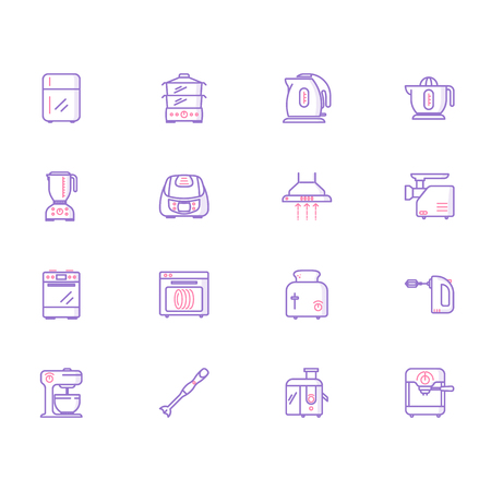 Collection of kitchen appliances icons Ilustracja