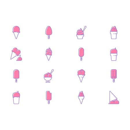Collection of otline ice cream icons