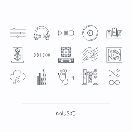 Collection of music elements outline icons isolated Ilustracja