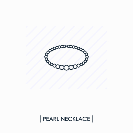 Pearl necklace outline icon isolated Ilustracja