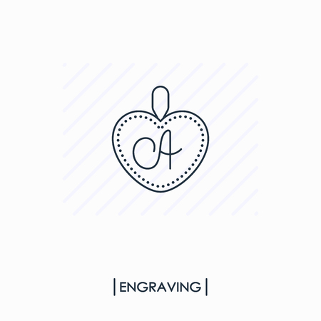 Pendant with engraving outline icon isolated