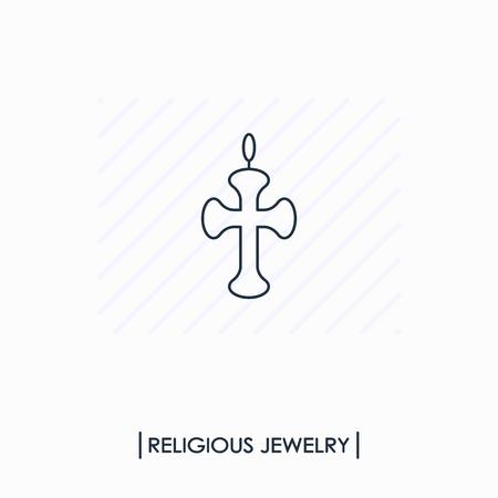 Religious jewelry outline icon isolated Ilustracja