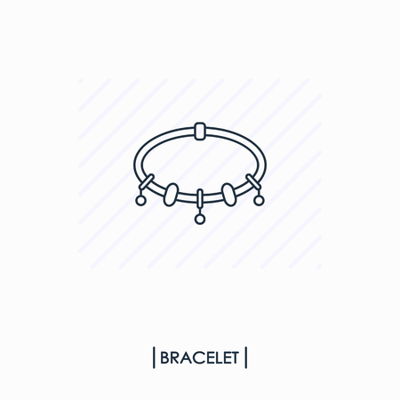 Bracelet with charms outline icon isolated Ilustracja