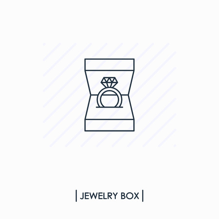 Engagement ring with diamond in gift box outline icon isolated