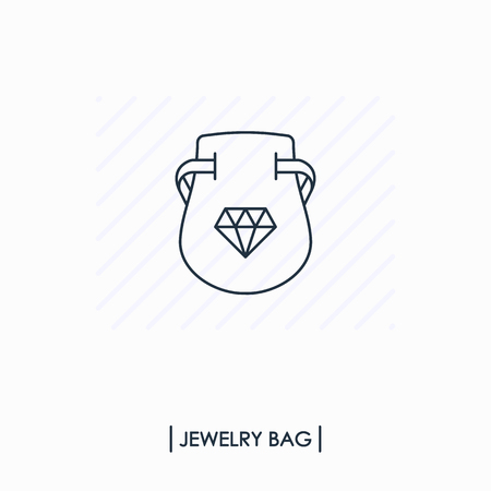 Jewelry bag outline icon isolated