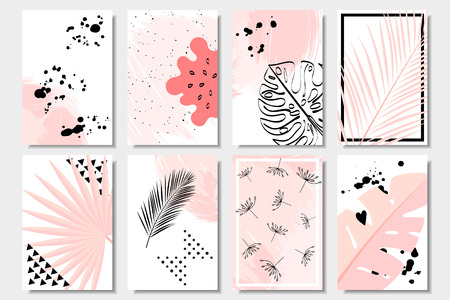 Collection of cute pink abstract summer cards with tropical leaves, dandelion and watermelon on white background