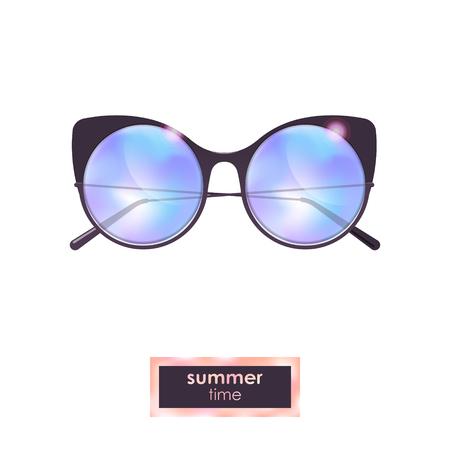 Summer cat eye sunglasses with blue gradient Ilustracja