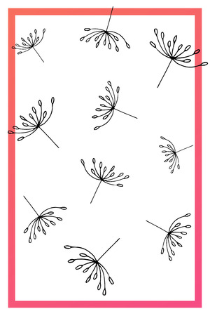 Pink abstract summer cards. Black hand drawn flying dandelion seeds on white background