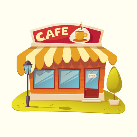 Cafe. Facade of a cafe - vector illustration Ilustracja