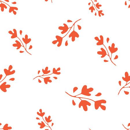 Hand drawn orange leaves seamless pattern