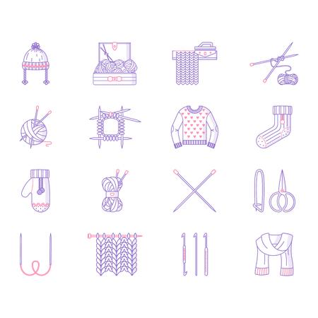 Knitting line icon set