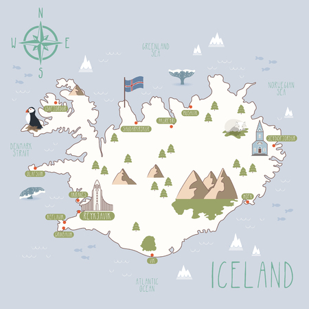 Vector map of Iceland Ilustracja