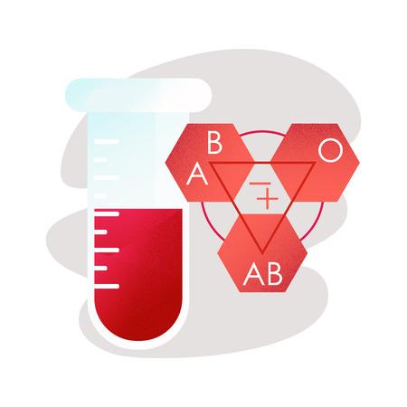 Blood types. Test tube with blood. Zdjęcie Seryjne