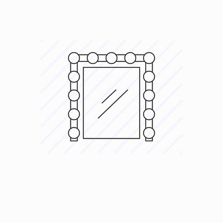 Simple mirror with light line icon isolated