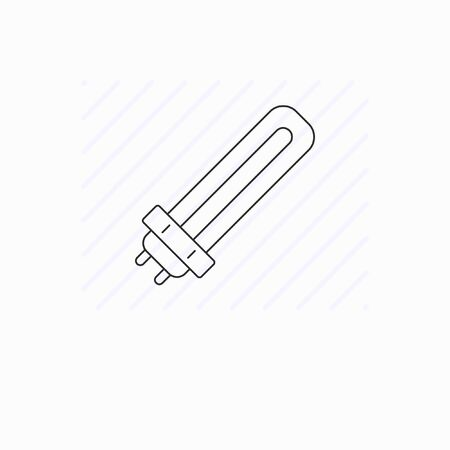 Simple fluorescent lamp line icon isolated