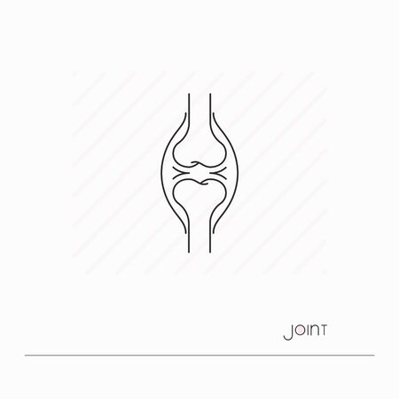 Joint icon isolated. Single thin line symbol of joint. Human body anatomy outline pictogram.