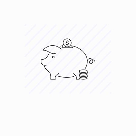 Piggy box icon isolated. Single thin line symbol of moneybox with coin